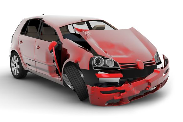 Collided red car